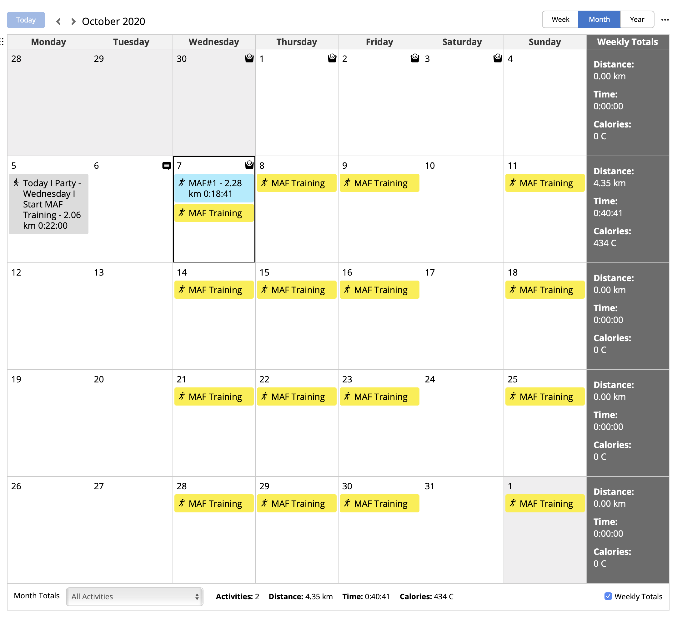 MAF Training Schedule (4 weeks)